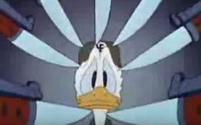 Donald Duck under threat by Nazis in 'Der Fuehrer's Face,' 1943 (YouTube screen capture)