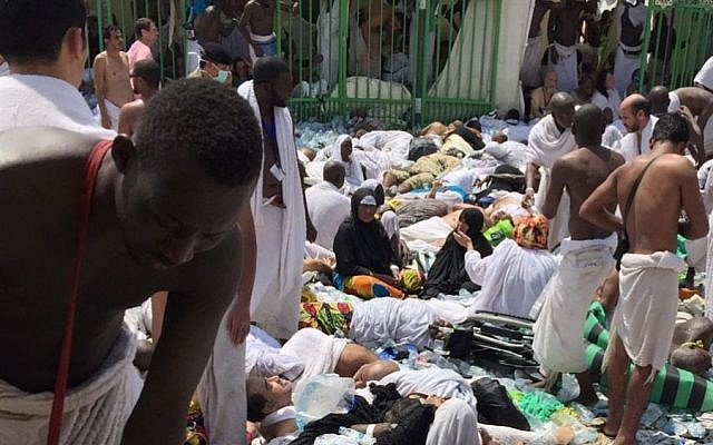Illustrative: Muslim pilgrims gather around the victims of a stampede in Mina, Saudi Arabia during the annual hajj pilgrimage on Sept. 24, 2015. (AP)