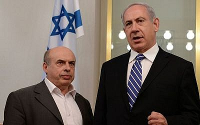 Natan Sharansky, left, head of the Jewish Agency, with Israeli Prime Minister Benjamin Netanyahu in the latter's Jerusalem office, June 18, 2013. (Kofi Gideon/Flash90/via JTA)
