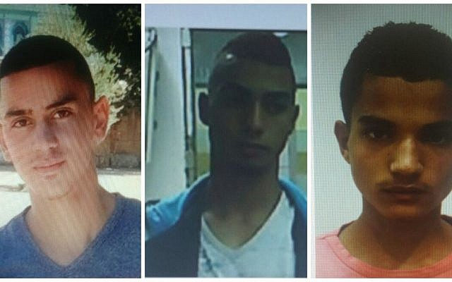 Three of the four Palestinian suspects arrested for a fatal rock-throwing attack on September 13, 2015 in Jerusalem that killed Alexander Levlovitz. From left to right: Abed Muhammad Abed Rabu Dawiat, 19, Muhammad Salah Muhammad Abu Kaf, 18 and Walid Fares Mustafa Atrash, 18. (Shin Bet)