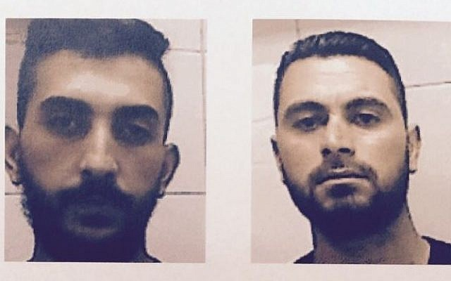 Ahmed Abdat (left) and Majdi Kowarik (right) were arrested for their involvement in the August 14 terror attack in which a gas station was set on fire in the West Bank community of Eli. (Photo from Shin Bet Security Agency)