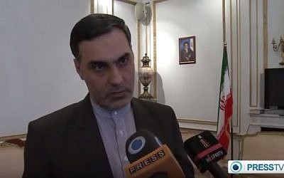 Mohammad Hassan Habibollahzadeh,  Iran's charge d'affaires to Britain (YouTube screenshot)