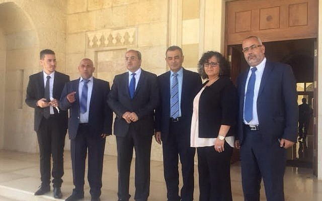 The delegation of Jont (Arab) Lift Knesset Members in Amman, Jordan on September 20, 2015. From R to L: MK Osama Silwadi, MK  Aida Touma-Silman, MK  Dr. Jamal Zahalka, MK Ahmad Tibi, MK Taleb Abu Arar. (courtesy Joint List)