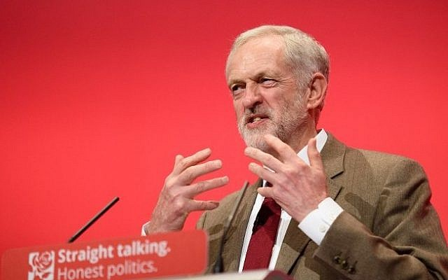 Britain's Labour Party leader Jeremy Corbyn makes his keynote address on the third day of the annual Labour Party Conference in Brighton, England, September 29, 2015. (AFP/Leon Neal)