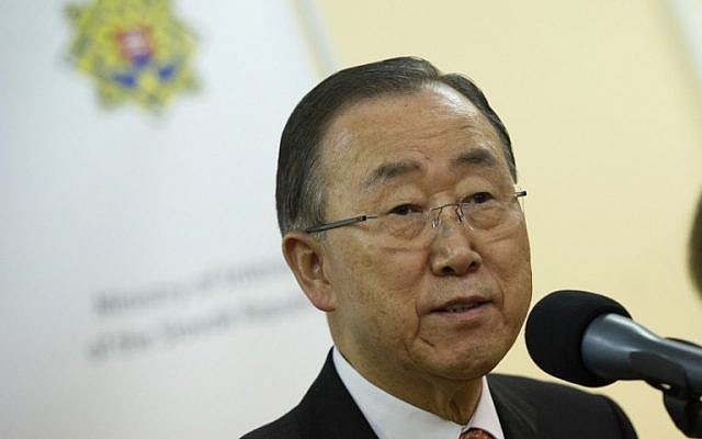 United Nations Secretary-General Ban Ki-moon speaks at press conference in the village of Gabcikovo near the border with Hungaryand  Slovakia, October 19, 2015. (AFP/Samuel Kubani)
