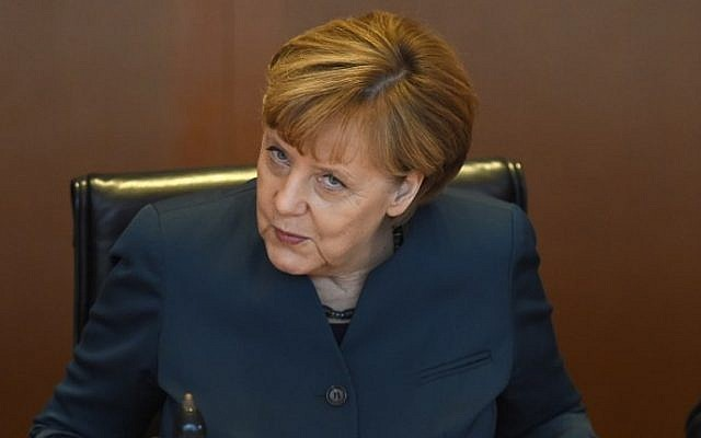German Chancellor Angela Merkel before the weekly cabinet meeting on October 21, 2015 at the chancellery  in Berlin. AFP/TOBIAS SCHWARZ)