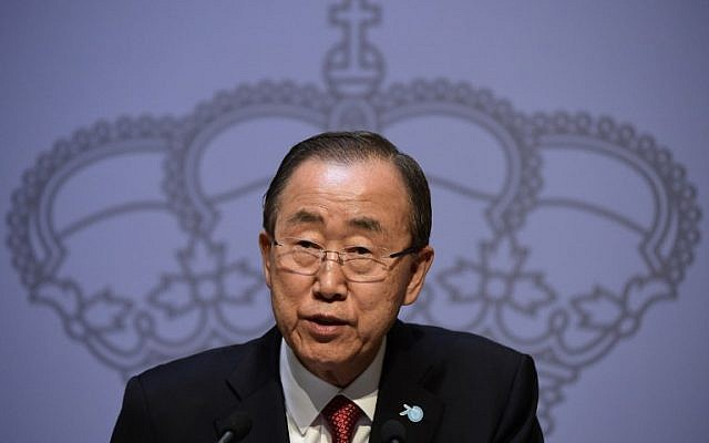 Secretary-General of the United Nations Ban Ki-moon speaks during a press conference at Santa Cruz Palace in Madrid on October 29, 2015. (AFP Photo/Javier Soriano)