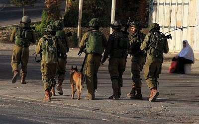 Israeli soldiers patrol a street, east of the West Bank city of Nablus, on October 3, 2015, as they search for the suspects in the slaying of an Israeli couple. (AFP/ JAAFAR ASHTIYEH)
