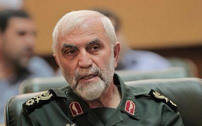 A file picture taken in Tehran on September 6, 2011, shows Iran's Revolutionary Guards Brig. Gen. Hossein Hamedani attending a ceremony. (AFP Photo/Behrouz Mehri)