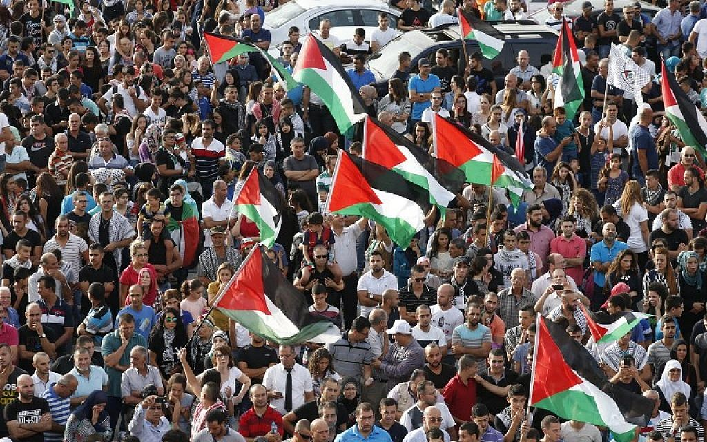Arab Israelis, some holding Palestinian flags, take part in a large demonstration as part of a general strike organized to support the Palestinians on October 13, 2015 in the northern Arab-Israeli town of Sakhnin (AFP PHOTO/JACK GUEZ)