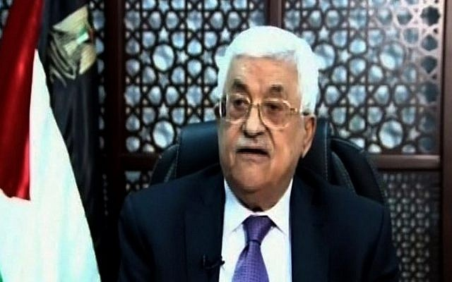 A screen capture from Palestinian TV shows PA President Mahmoud Abbas delivering a speech on October 14, 2015 in the West Bank city of Ramallah. (Palestinian TV/AFP)
