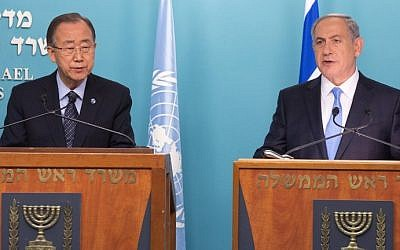 Prime Minister Benjamin Netanyahu and United Nations Secretary-General Ban Ki-moon hold a joint presser at the Prime Minister's office in Jerusalem on October 20, 2015. (AFP PHOTO/MENAHEM KAHANA)