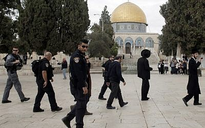 Ultra-Orthodox Jewish men join a group of religious Jews under Israeli police protection on a visit  to the Temple Mount in Jerusalem's Old City on October 27, 2015. (AFP/Ahmad Gharabli)