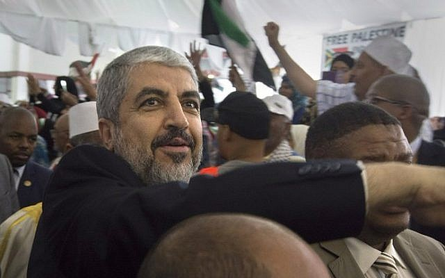 Hamas political leader Khaled Mashaal at an African National Congress rally in Hamas's honor in Cape Town, South Africa, October 21, 2015. (AFP Photo/Rodger Bosch/File)