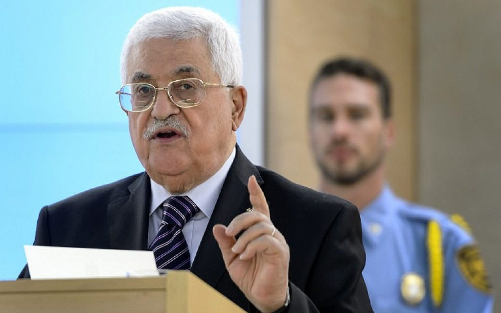 File: Palestinian Authority President Mahmoud Abbas, October 28, 2015 (AFP/Fabrice Coffrini)