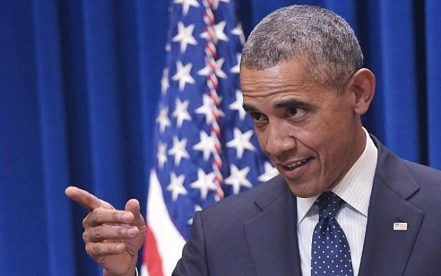 US President Barack Obama speaks to Democratic state legislators in the Eisenhower Executive Office Building, next to the White House on September 30, 2015 in Washington, DC (AFP PHOTO/MANDEL NGAN)
