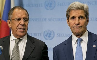 United States Secretary of State John Kerry (R) and Russian Foreign Minister Sergey Lavrov speak to the media after a meeting concerning Syria at the United Nations headquarters in New York on September 30, 2015. (Dominick Reuter/AFP)