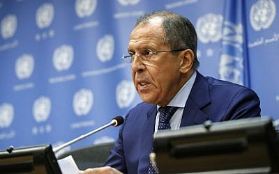 Russian Foreign Affairs Minister Sergey Lavrov speaks during a press conference at the United Nations General Assembly on October 1, 2015 in New York. (Kena Betancur/ AFP)