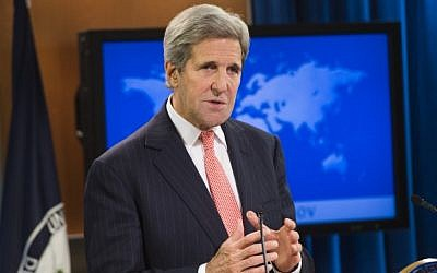 US Secretary of State John Kerry speaks during the release of the 2014 International Religious Freedom Report at the US State Department in Washington, DC, on October 14, 2015 (AFP PHOTO/SAUL LOEB)