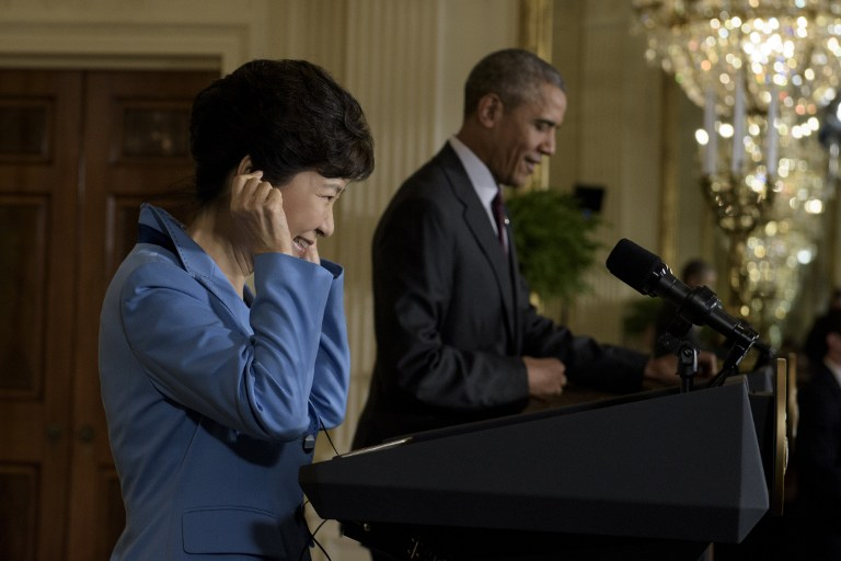 US President Barack Obama and South Korean President Park Geun-hye attend a press conference in the East Room of the White House on October 16, 2015 in Washington, DC. (Brendan Smialowski/AFP)