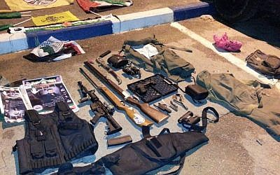 A weaponry cache found by IDF troops in T'lat, a West Bank town south of Qalqilya, on Oct. 26, 2015. (IDF Spokesperson's Unit)