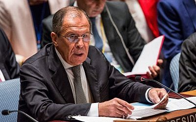 Russian Foreign Minister Sergey Lavrov attends a UN Security Council meeting in New York, September 30, 2015. (Andrew Burton/Getty Images/AFP)