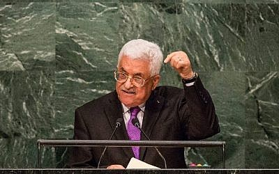Mahmoud Abbas speaks at the United Nations General Assembly in New York City on September 30, 2015. (AFP/Andrew Burton/Getty Images)