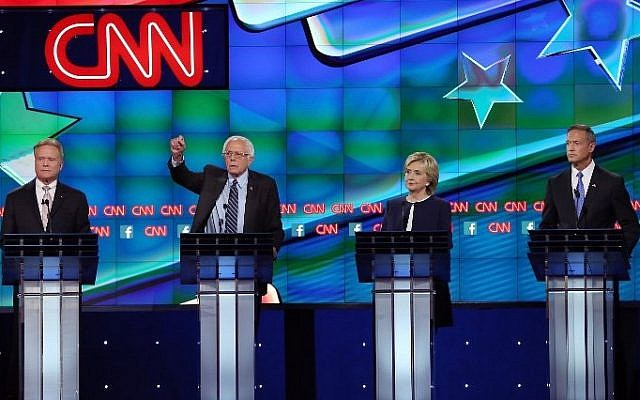 Democratic presidential candidates Jim Webb, Sen. Bernie Sanders (I-VT), Hillary Clinton and Martin O'Malley take part in a presidential debate sponsored by CNN and Facebook at Wynn Las Vegas on October 13, 2015 in Las Vegas, Nevada. (Joe Raedle/Getty Images/AFP)