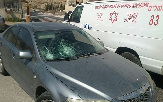 A car after being stoned near the Israeli settlement of Tekoa on October 1, 2015. (Tekoa security)