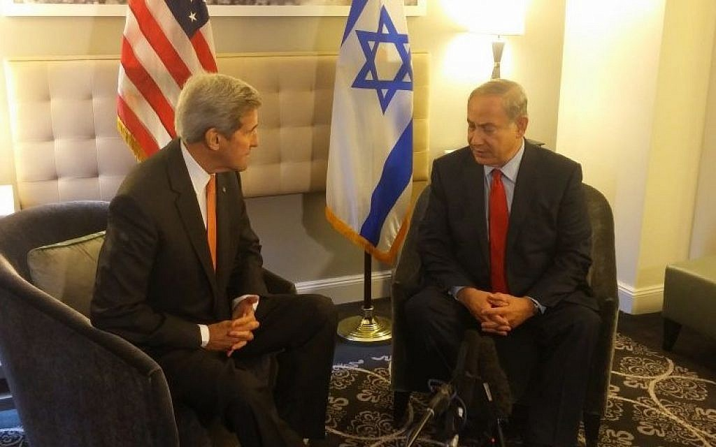 US Secretary of State John Kerry and PM Netanyahu in New York, October 2, 2015 (Ronen Pollak)
