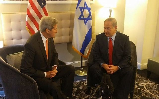 US Secretary of State John Kerry and PM Netanyahu in New York, October 2, 2015 (Ronen Pollak)