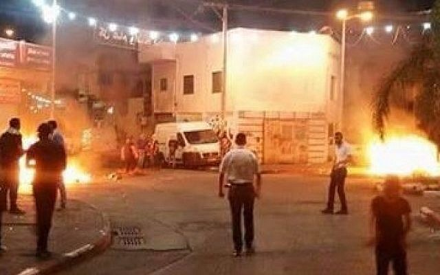 Nazareth protest turns violent as protesters clash with security forces (Photo by Noor Hussein)