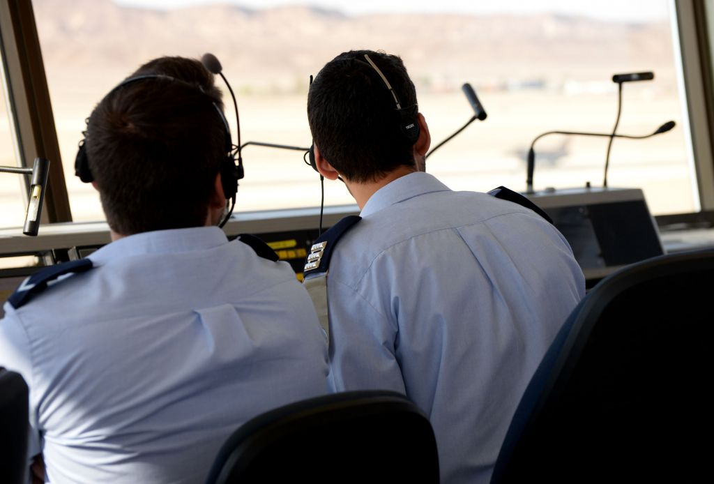 Air traffic controllers monitor the aircraft taking part in the 'Blue Flag'exercise at Ovda Airfield near Eilat in southern Israel on Oct. 27, 2015. (Israel Air Force)