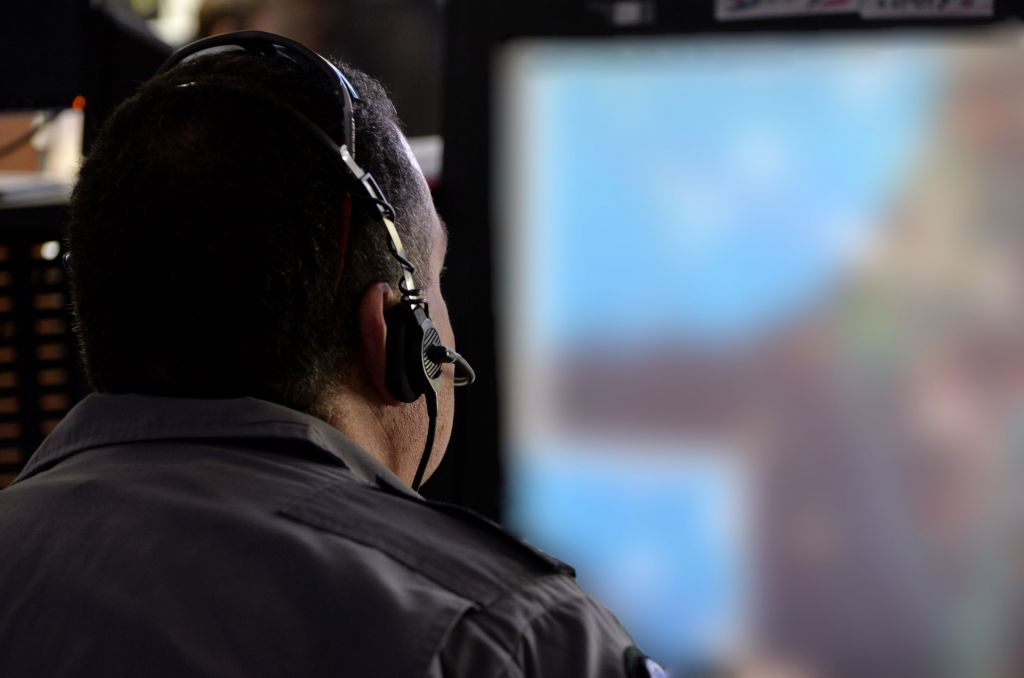 A controller monitors the progress of the 'Blue Flag' exercise at Ovda Airfield near Eilat on Oct. 27, 2015. (Israel Air Force)