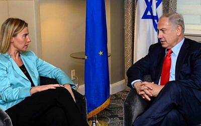 EU foreign policy chief Federica Mogherini (left) meets with Prime Minister Benjamin Netanyahu in New York, September 30, 2015. (Courtesy PMO)