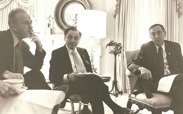 Yehuda Avner sits between Prime Minister Yitzhak Rabin (left) and US diplomat Joe Sisco at the White House, 1977. (Courtesy of Moriah Films)