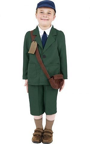 Several versions of a WWII-era 'displaced child' costume can also be ordered online, usually with staples like a 1940s-era dress, beret hat, and brown bag (courtesy)