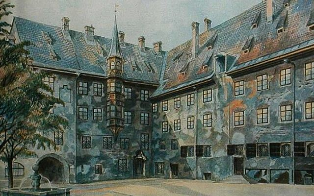 "Illustrative: A painting, ""The Courtyard of the Old Residency in Munich,"" painted by a young Adolf Hitler, before he turned to politics. (Public Domain)."