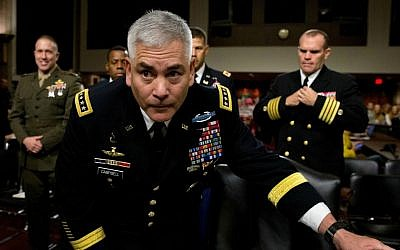 US Forces-Afghanistan Resolute Support Mission Commander Gen. John Campbell arrives on Capitol Hill in Washington, Tuesday, Oct. 6, 2015, to testify before the Senate Armed Services Committee hearing on the Situation in Afghanistan. (AP Photo/Carolyn Kaster)