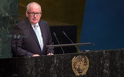 First Vice-President of the European Union Frans Timmermans addresses the 2015 Sustainable Development Summit, Sunday, September 27, 2015, at United Nations headquarters. (Bryan R. Smith/AP)