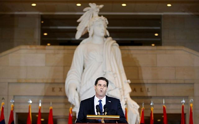 Ron Dermer speaks on Thursday, April 16, 2015, in Emancipation Hall on Capitol Hill in Washington. (AP/Andrew Harnik)