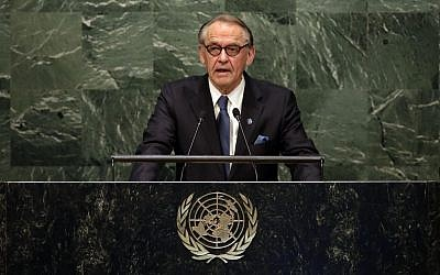 United Nations Deputy Secretary-General Jan Eliasson addresses the UN General Assembly, on Monday, April 27, 2015 (AP Photo/Richard Drew)