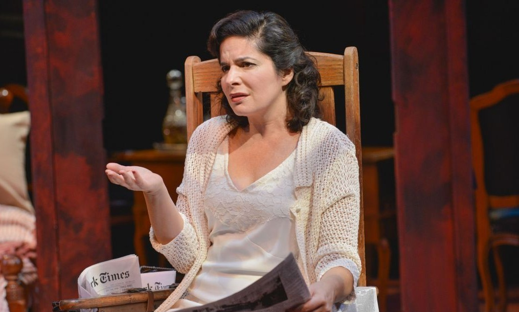 Actress Anne Gottlieb portrayed Sylvia Gellburg, a 'self-paralyzed' Jewish woman, in an October 2015 production of Arthur Miller's 'Broken Glass,' produced by Boston's New Repertory Theatre. The production was staged in honor of the 100th anniversary of Miller's birth on October 17, 1915. (Andrew Brilliant/NRT)