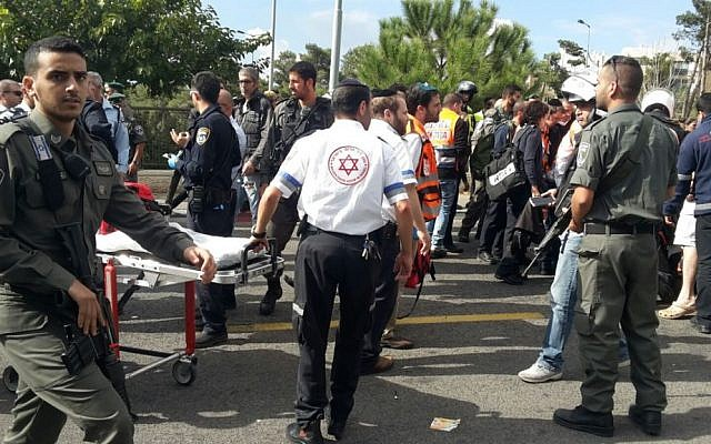 Paramedics arrive at the scene of a stabbing attack in Ammunition Hill in Jerusalem on October 30, 2015. (Magen David Adom)