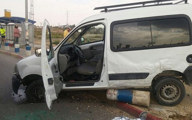 A photo of the car involved in a suspected terror attack Monday near the West Bank's Gush Etzion junction, south of Jerusalem. (Magen David Adom)