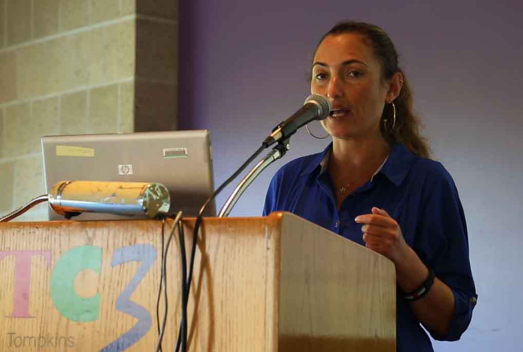 Ariel Gold, an Ithaca coordinator for Jewish Voice for Peace, a Jewish anti-Zionist group, organized the Tamimi tour. (Eric Cortellessa/The Times of Israel)