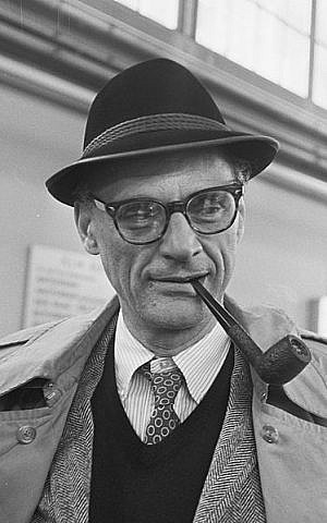 An iconic 1966 photograph of Arthur Miller, who theaters around the world are celebrating this month on the occasion of the 100th anniversary of his birth on October 17, 1915 (Wikimedia Commons)