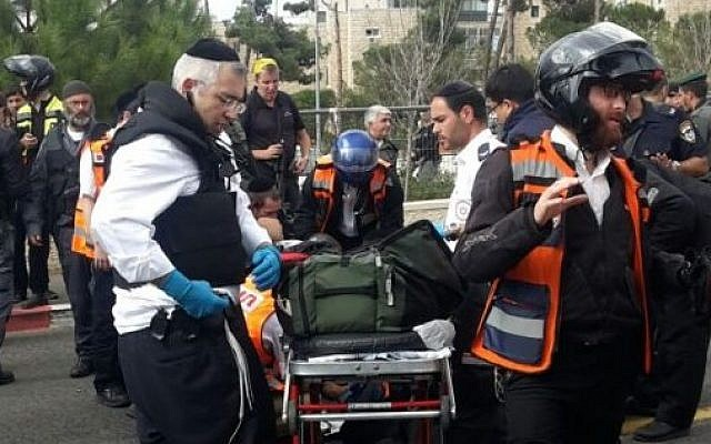 Paramedics arrive at the scene of a stabbing attack in the Ammunition Hill of Jerusalem on Oct. 30, 2015. (Magen David Adom)
