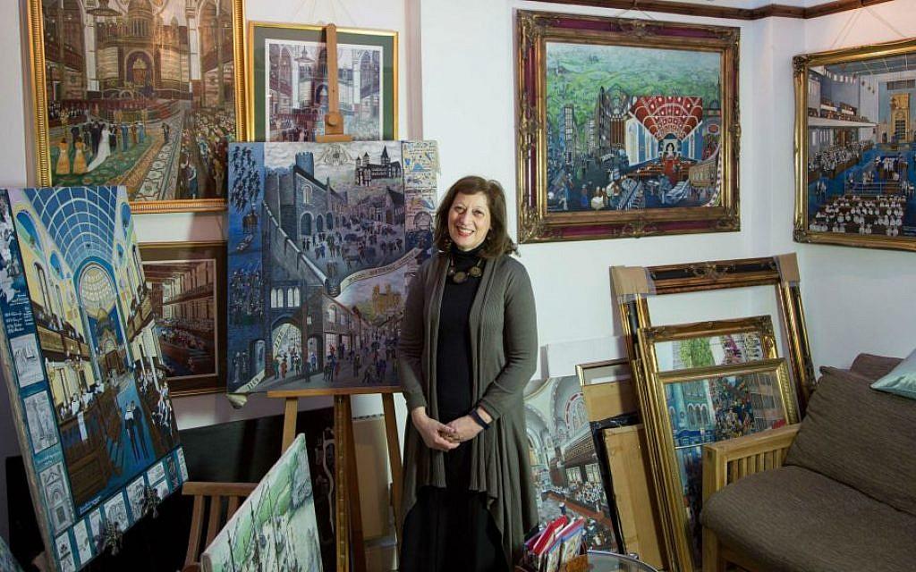 Chronicler of British Jewry Beverley-Jane Stewart in her London studio. (courtesy)