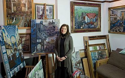 Chronicler of British Jewry Beverley-Jane Stewart in her London studio. (courtesy)